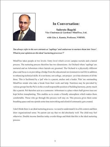 Please read the interview for an appreciation of Bagchi's ... - NMIMS