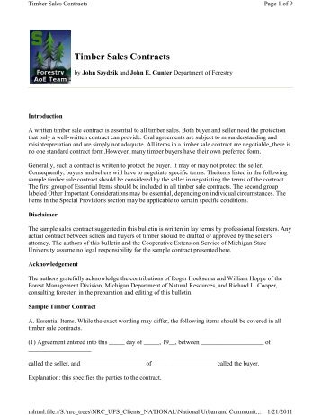 Sample Contract For Sale Of Standing Timber For Educational