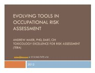 EVOLVING TOOLS IN OCCUPATIONAL RISK ASSESSMENT - Tera