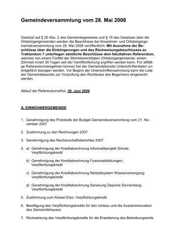 Gemeindeversammlung vom 28. Mai 2008 - Reinach