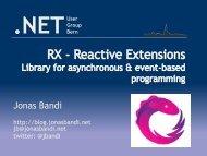 Jonas Bandi - NET User Group Bern
