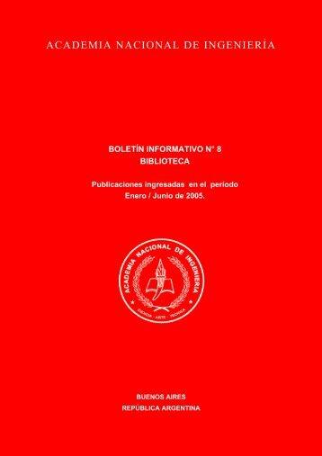 boletín informativo n° 8 biblioteca - Academia Nacional de Ingeniería