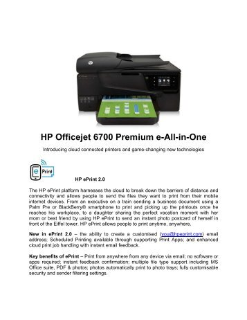 H HP Offi icejet 6700 Premi ium e- -All-in n-One