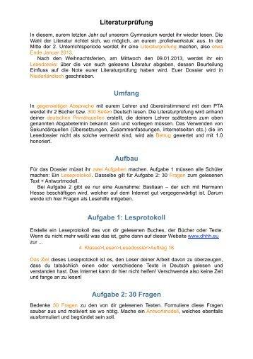 Literaturprüfung Umfang Aufbau Aufgabe 1: Lesprotokoll Aufgabe 2 ...