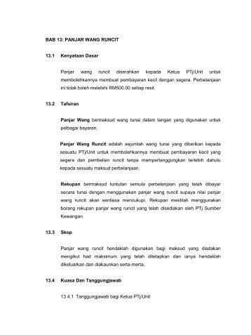PANJAR WANG RUNCIT 13.1 Kenyataan Dasar Panjar wang runcit ...