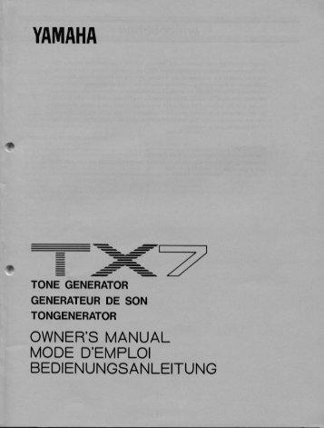 YAMAHA TX7 - Manual