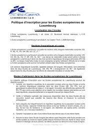 FR - Politique d'inscription aux Ecoles Européennes de Luxembourg