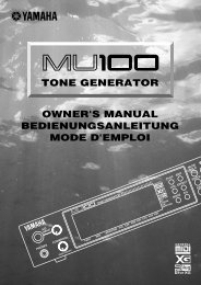 tone generator owner's manual bedienungsanleitung ... - Yamaha