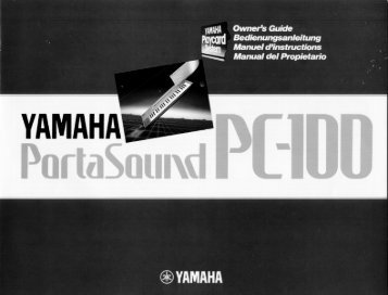 Page 1 Page 2 Thank you for purchasing a Yamaha PortaSound PC ...