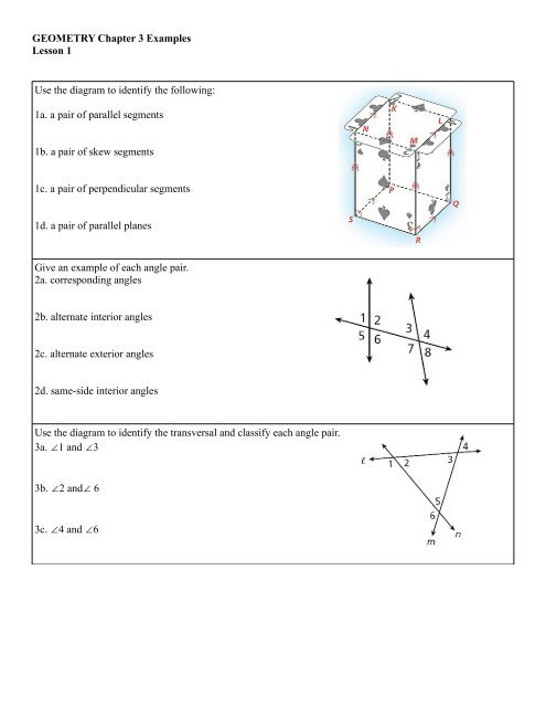 Geometry Chapter 3 Examples Lesson 1 Use The Diagram To