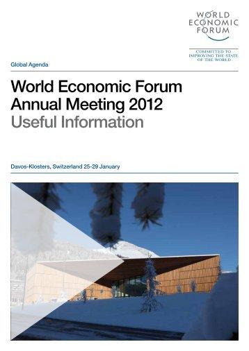 World Economic Forum Annual Meeting 2012 Useful Information