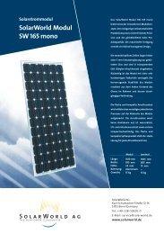 SolarWorld Modul SW 165 mono