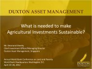 What is needed to make Agricultural Investments Sustainable?