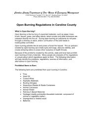 Open Burning Regulations - Caroline County!