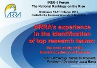 ARRA's experience in the identification of top research teams: