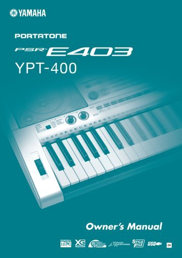 PSR-E403, YPT-400 Owner's Manual - Yamaha