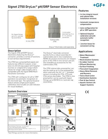 Signet 2750 DryLoc® pH/ORP Sensor Electronics - KTH Sales, Inc.