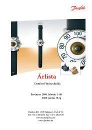 Arlista 2008 - Danfoss fűtéstechnika