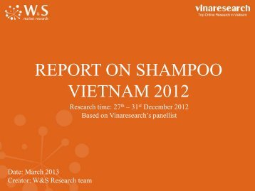 REPORT ON SHAMPOO VIETNAM 2012 - W&S market research