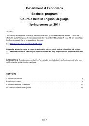 Courses held in English language Spring semester 2013