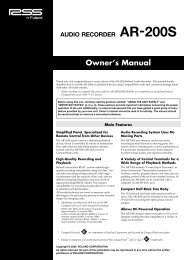 Owner's Manual - Roland Systems Group