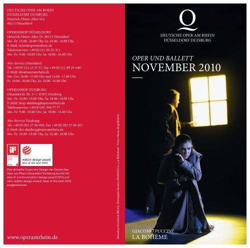 Monatsspielplan November Deutsche Oper am Rhein - IOCO