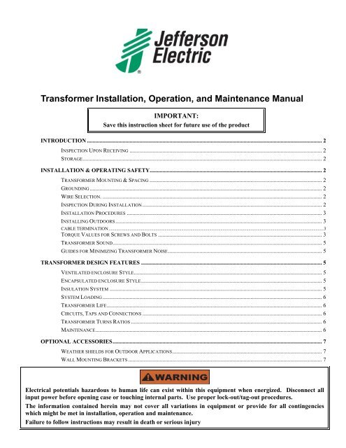 Transformer Installation, Operation, and ... - Jefferson ... on transformer vector diagrams, ceiling fans diagrams, transformer connection diagrams, transformer winding diagrams, transformer schematic diagram, transformer grounding, transformer types, transformer blueprints, transformer hook up diagrams, led circuit diagrams, transformer fuse sizing, transformer electrical, transformer formulas, three-phase transformer diagrams, transformer phase displacement diagrams, 3 phase motor control diagrams, transformer single line diagram, transformer installation, transformer design diagrams, transformer equations,