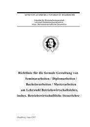Fakultät für Wirtschaftswissenschaft - Otto-von-Guericke-Universität ...