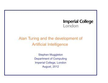 Alan Turing and the development of Artificial Intelligence - Lirmm