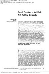 Speech Perception in Individuals With Auditory Neuropathy