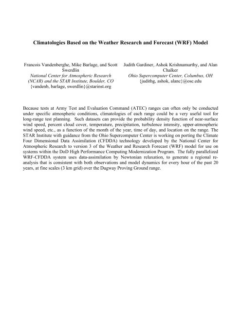 Climatologies Based on the Weather Research and Forecast (WRF ...