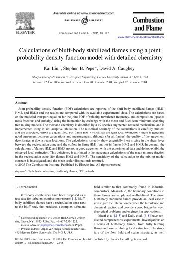 Calculations of bluff-body stabilized flames using a - Turbulence and ...