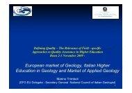 European market of Geology, Italian Higher Education in Geology ...
