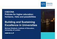 Building and Sustaining Excellence in Universities - Cned