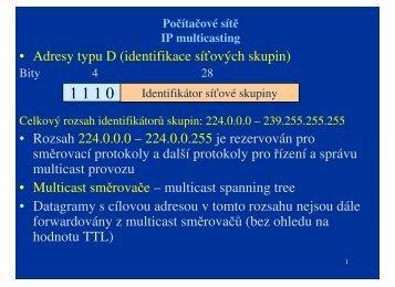 • Adresy typu D (identifikace síťových skupin) • Rozsah ... - eAMOS