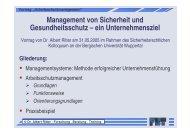 """Vortrag """"Arbeitsschutzmanagement"""""""