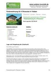 Ferienwohnung für 4 Personen in Velden - Outdoor-Touristik
