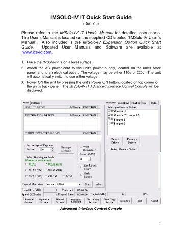 IMSOLO-IV Forensics Quick Start Guide - ICS-IQ.com