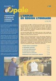 L'emploi en région lyonnaise - Opale