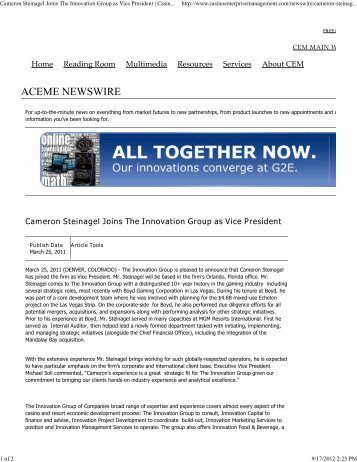 Cameron Steinagel Joins The Innovation Group as Vice President ...