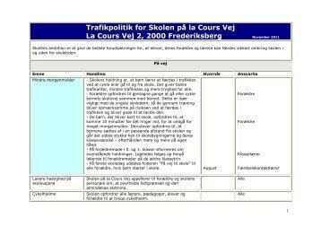 Centrumskolens trafikpolitik - Skolen på la Cours Vej