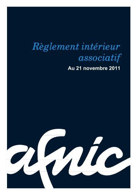 Règlement intérieur associatif - Afnic