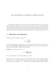 Introduction to Analytic Number Theory Math 531