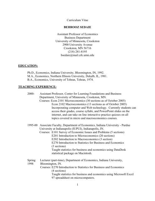 1 Curriculum Vitae Behrooz Sedaie Assistant Professor Of