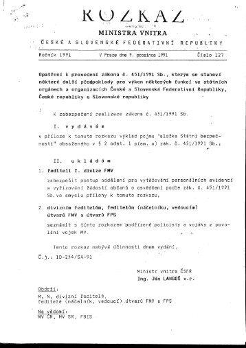 Rozkaz ministra vnitra ČSFR č. 127