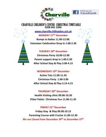 charville children's centre christmas timetable - Charville Primary ...