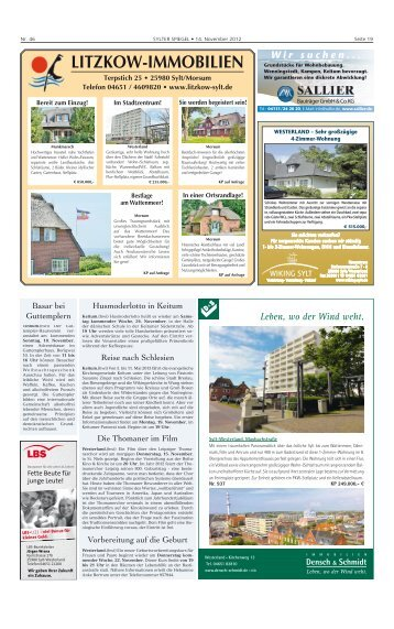 LITZKOW-IMMOBILIEN Terpstich 25 • 25980 Sylt ... - Sylter Spiegel