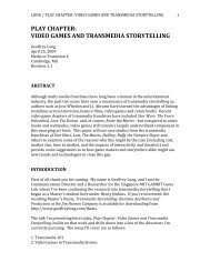Play Chapter: Video Games And Transmedia Storytelling - MIT