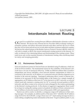 Interdomain Internet Routing - Bnrg.cs.berkeley.edu