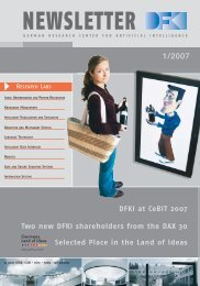 DFKI at CeBIT 2007 Two new DFKI shareholders from the DAX 30 ...